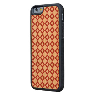 White and Red Diamond Pattern Carved® Cherry iPhone 6 Bumper