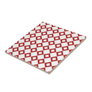 White and Red Diamond Pattern Ceramic Tile