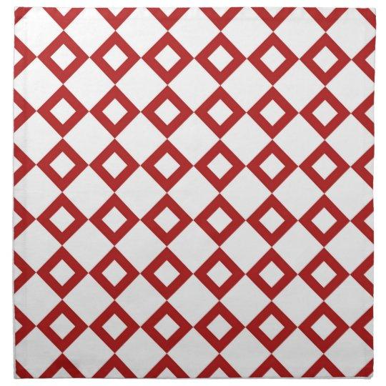 White and Red Diamond Pattern Cloth Napkin