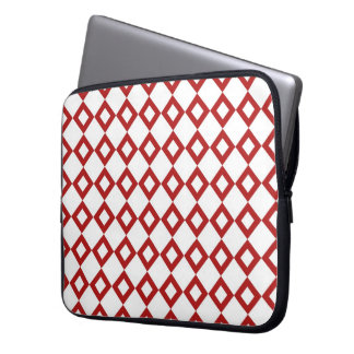 White and Red Diamond Pattern Computer Sleeve