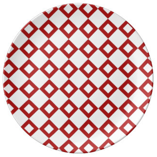 White and Red Diamond Pattern Dinner Plate