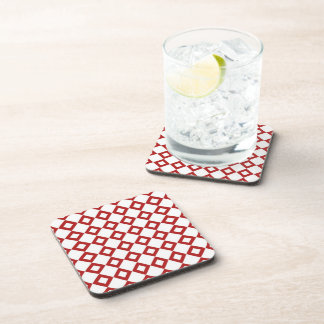 White and Red Diamond Pattern Drink Coaster