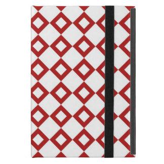White and Red Diamond Pattern iPad Mini Covers