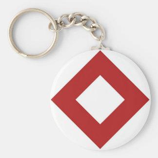 White and Red Diamond Pattern Basic Round Button Keychain