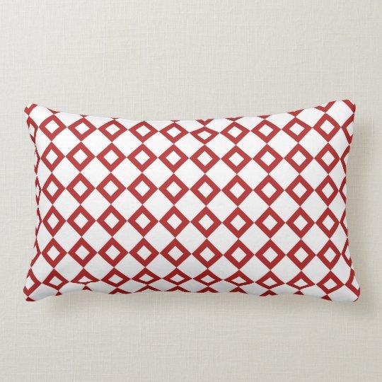 White and Red Diamond Pattern Lumbar Pillow