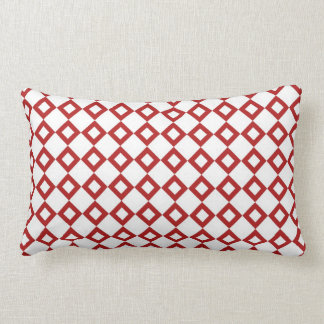 White and Red Diamond Pattern Pillow