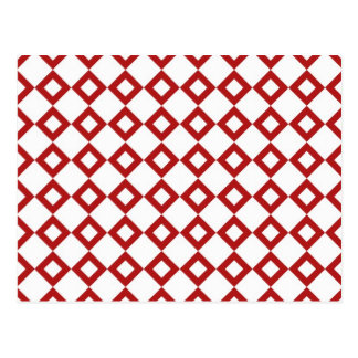 White and Red Diamond Pattern Postcard