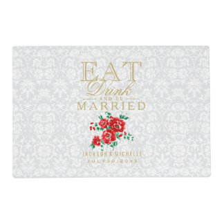 White and Red - Eat Drink and Be Married Placemat