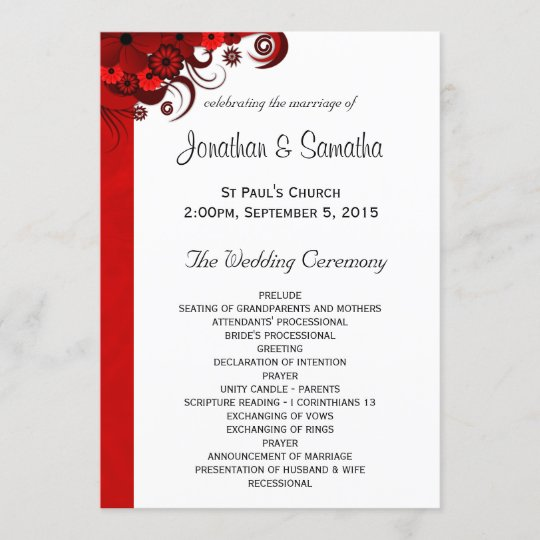 White And Red Floral Wedding Program Templates Zazzlecom - Floral wedding program templates