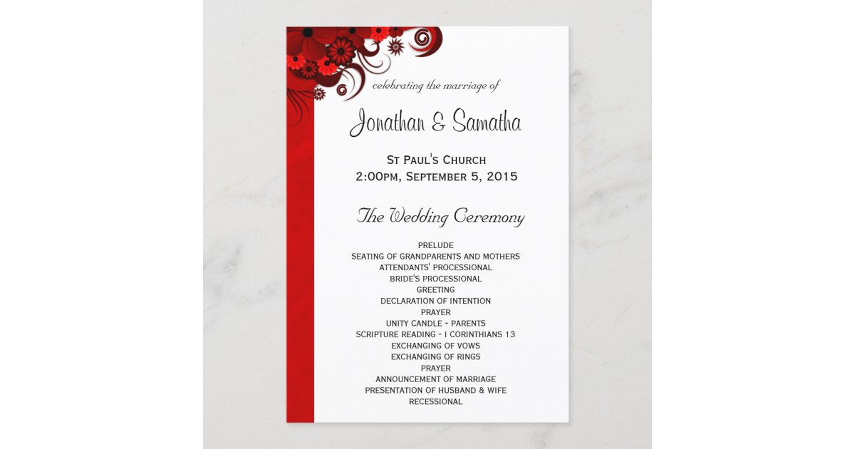 White and Red Floral Wedding Program Templates | Zazzle.com