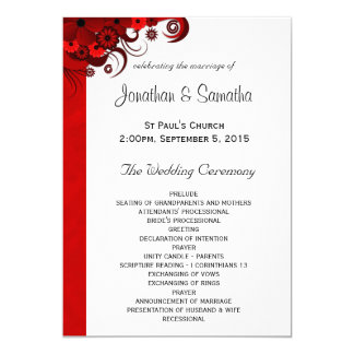 White and Red Floral Wedding Program Templates Card