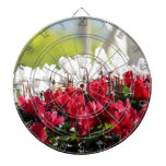 White And Red Flowers Dartboard With Darts