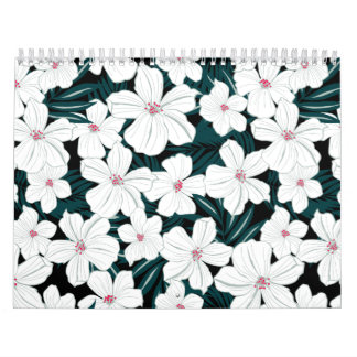 White and red flowers on green leaves calendar