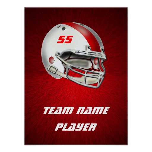 White and Red Football Helmet Posters