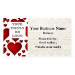 White and red heart pattern photo template business card