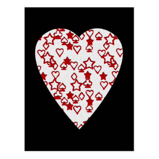 White and Red Heart. Patterned Heart Design. Postcard