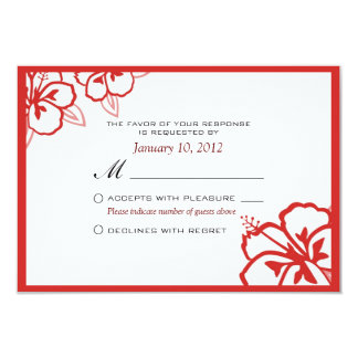 White and Red Hibiscus Flower Custom RSVP Card