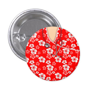 White And Red Hibiscus Island Medical Scrubs Pinback Button