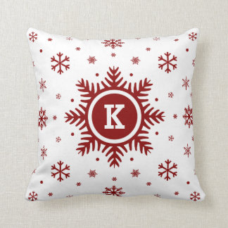White and Red Monogram Holiday Snowflake pillow