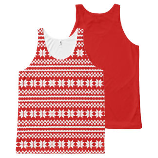 White and Red Nordic Christmas Sweater Pattern All-Over-Print Tank Top