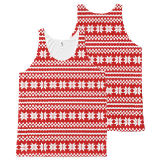 White and Red Nordic Christmas Sweater Pattern All-Over Print Tank Top