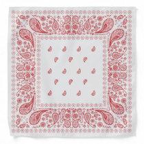 White and Red Paisley Design Bandana