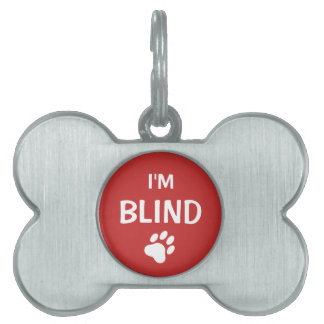 White And Red Paw Print Blindness Awareness Pet ID Tag