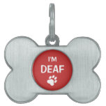 White And Red Paw Print I'm Deaf Pet Name Tag