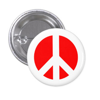 White and Red Peace Symbol Button