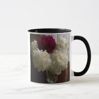 White and Red Peony / Peonies Mug