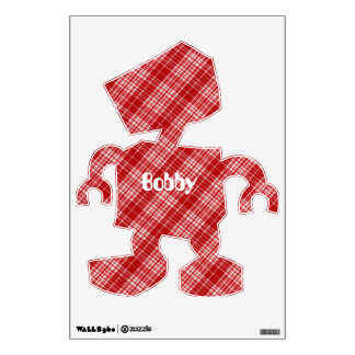 White And Red Plaid Diagonal Fabric Design Wall Sticker