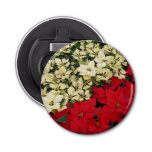 White and Red Poinsettias I Holiday Floral Bottle Opener