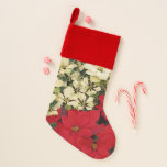 White and Red Poinsettias I Holiday Floral Christmas Stocking
