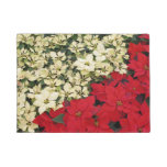 White and Red Poinsettias I Holiday Floral Doormat