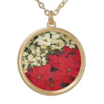 White and Red Poinsettias I Holiday Floral Gold Plated Necklace