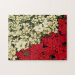 White and Red Poinsettias I Holiday Floral Jigsaw Puzzle