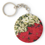 White and Red Poinsettias I Holiday Floral Keychain