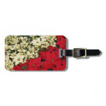 White and Red Poinsettias I Holiday Floral Luggage Tag