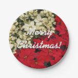 White and Red Poinsettias I Holiday Floral Paper Plate