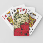 White and Red Poinsettias I Holiday Floral Playing Cards