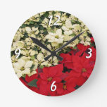 White and Red Poinsettias I Holiday Floral Round Clock