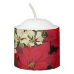 White and Red Poinsettias I Holiday Floral Votive Candle