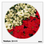 White and Red Poinsettias I Holiday Floral Wall Decal