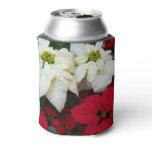 White and Red Poinsettias II Christmas Holiday Can Cooler