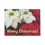 White and Red Poinsettias II Christmas Holiday Doormat
