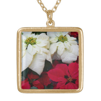 White and Red Poinsettias II Christmas Holiday Gold Plated Necklace