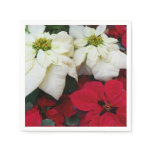 White and Red Poinsettias II Christmas Holiday Napkin