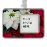 White and Red Poinsettias II Christmas Holiday Ornament