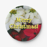 White and Red Poinsettias II Christmas Holiday Paper Plate