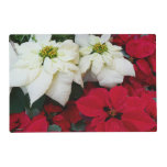 White and Red Poinsettias II Christmas Holiday Placemat